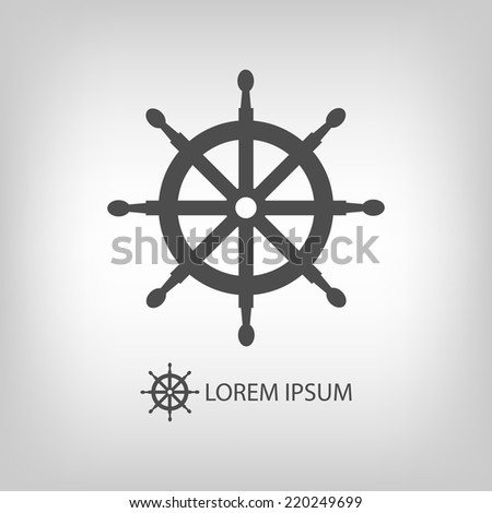 Helm as logo with copyspace in grey colors - stock vector