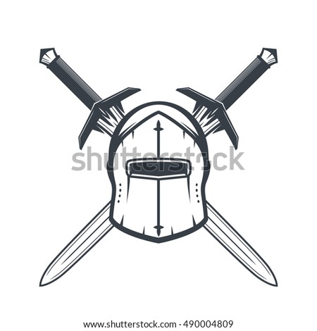 helmet and crossed swords isolated on white, heraldic elements, vector illustration