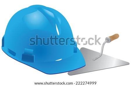 Helmet and trowel mason - professional construction company. Vector illustration. - stock vector