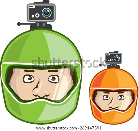 Helmet Camera color vector - stock vector