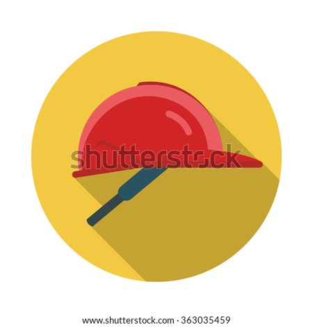 Helmet ,flat style with long shadows. Hard hat illustration - stock vector