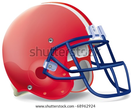 Helmet football red withe line blue mask - stock vector