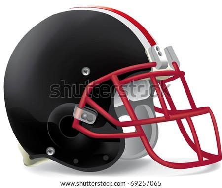 helmet football team black & red mask withe line - stock vector