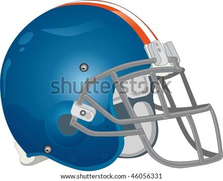helmet football team blue - stock vector