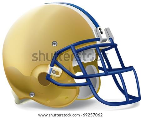 helmet football team Gold & Blue mask withe line - stock vector