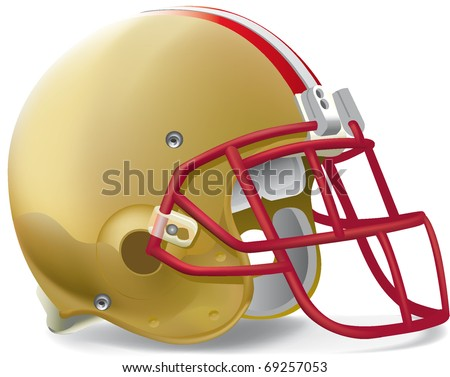 helmet football team gold & red withe - stock vector