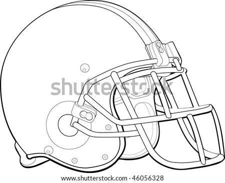 helmet football team outline - stock vector