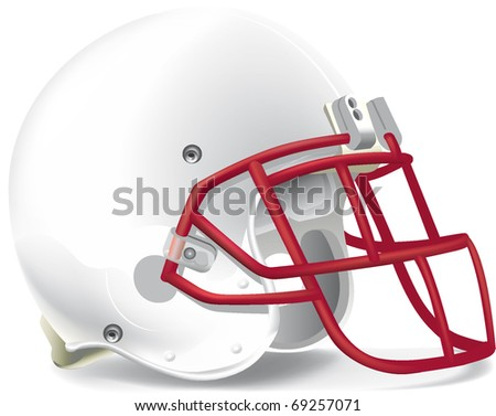 helmet football team withe & red mask - stock vector