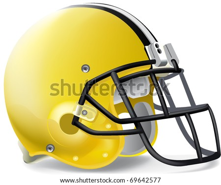 Helmet football yellow & black - stock vector