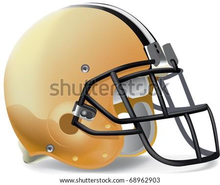 Helmet football yellow gold withe & black line - stock vector