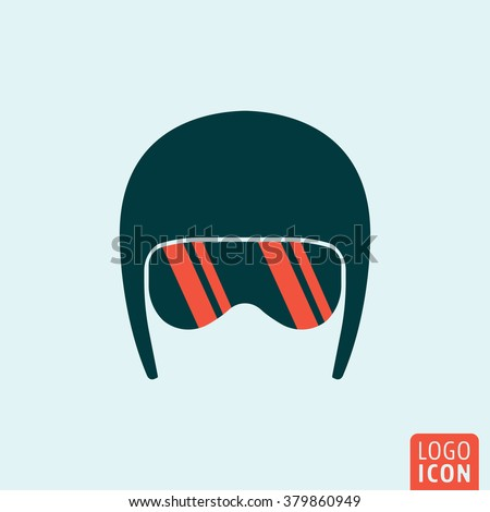 Helmet icon. Helmet logo. Helmet symbol. Helmet with sport glasses icon isolated, minimal design. Vector illustration - stock vector