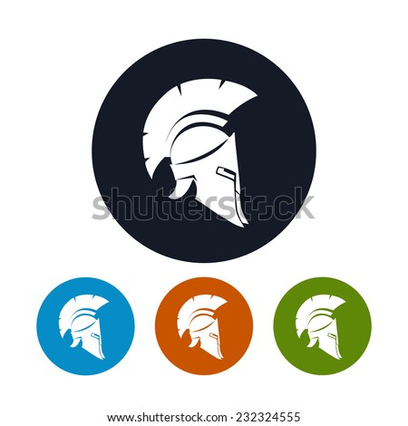 Helmet icon, the four types of colorful round icons antique helmet, antique  Roman or Greek helmet for head protection soldiers with a crest of feathers or horsehair with slits for the eyes and mouth  - stock vector