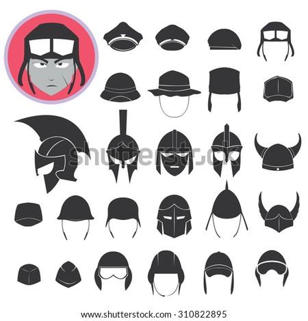 helmet soldier vector icon - stock vector