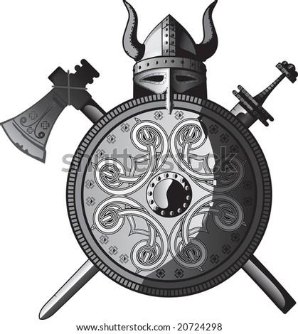 Helmet, sword, axe and Shield of Vikings - stock vector