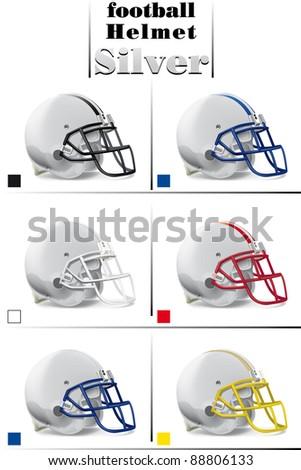 helmets football team silver collection - stock vector