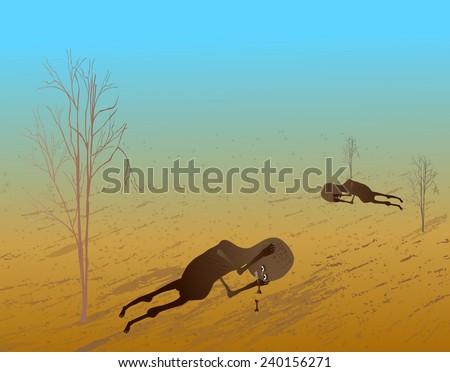 Help African poor children-Vector illustration - stock vector