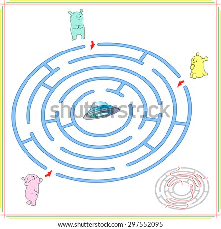 Help aliens to find their way to the flying saucer. Extraterrestrials must pass through a maze and find spaceship. Educational game for children. Vector illustration - stock vector