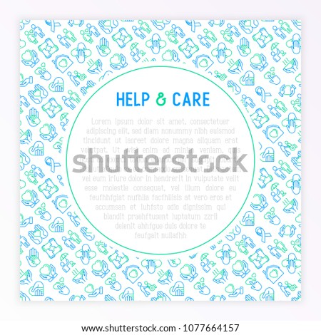 Help Care Concept Thin Line Icons Stock Vector 1077664157 Shutterstock