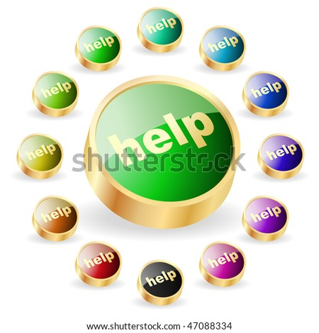 Help button. Vector set for web