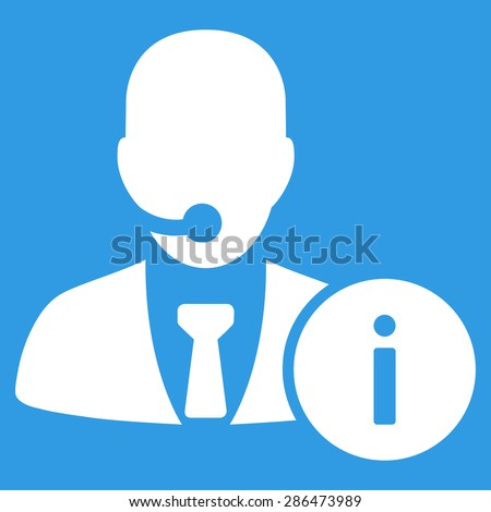 Help desk icon from Business Bicolor Set. Vector style: flat symbol, white color, rounded angles, blue background. - stock vector
