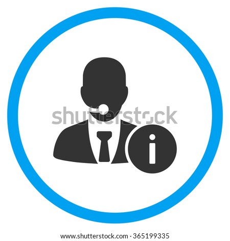 Help Desk vector icon. Style is bicolor flat circled symbol, blue and gray colors, rounded angles, white background. - stock vector