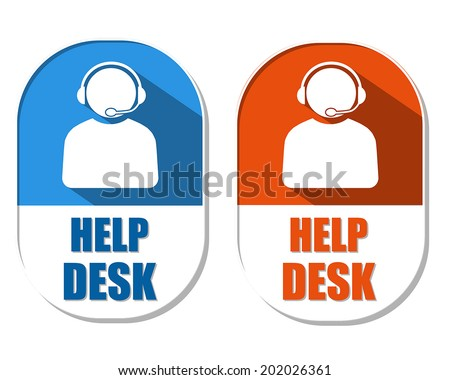 help desk with headset symbol, two elliptic flat design labels with icons, business technical support concept, vector - stock vector