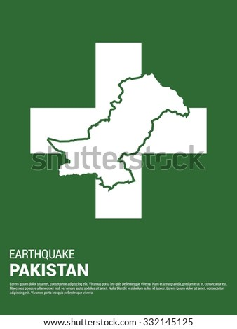 Help Earthquake Victims. Pray for Pakistan earthquake poster template. Earthquake Crisis Concept Vector illustration