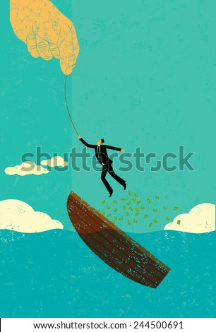 Help escaping bankruptcy A man with his boat sinking and losing his money gets a helping hand. The man,hand, and boat are on a separate labeled layer from the background. - stock vector