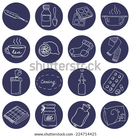 Help for colds set. Set of round icons with tool helps with colds.