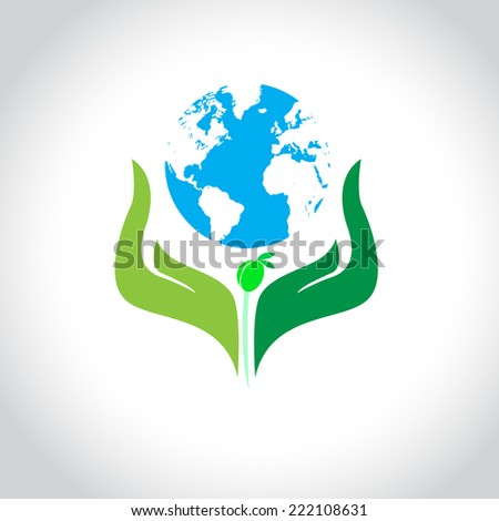help growing plants on earth - vector illustration - stock vector