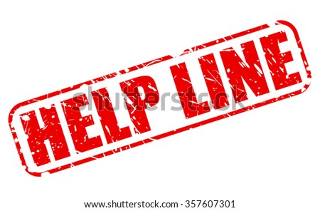 HELP LINE red stamp text on white - stock vector