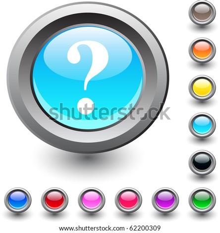 Help  metallic vibrant round icon. - stock vector