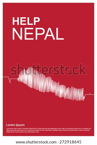 Help Nepal Charity advertisement. Help Nepal. Ecg Nepal Map in Cover Page - stock vector