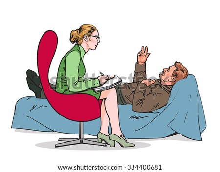 Help psychologist. Psychotherapy. Consulting psychologist doctor. Psychologist listens to patient. Psychologist evaluates the patient. Psychologist solves the problem. Medical counseling. Vector  - stock vector