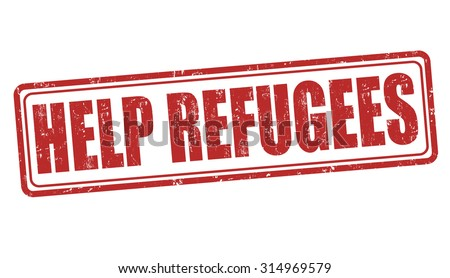 Help Refugees grunge rubber stamp on white background, vector illustration - stock vector