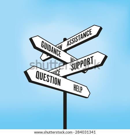 Help signpost - stock vector