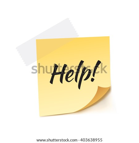 Help! Stick Note Vector Illustration