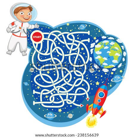 Help the astronaut reach the spaceship and go to the planet earth. Maze Game with Solution. Funny cartoon character. Vector illustration. Isolated on white background - stock vector