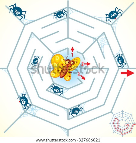 Help the butterfly to get out of the spiderweb. Find the right way. Maze Game with Solution. Riddles with tangled lines. Funny cartoon character. Vector illustration. Isolated on white background - stock vector