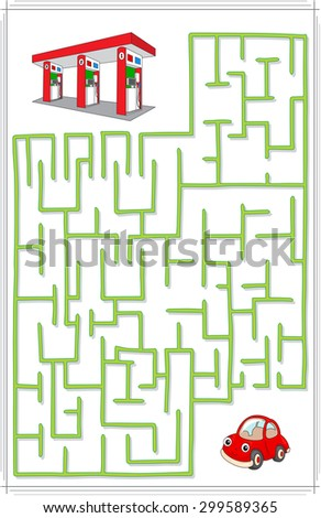 Help the car go through a maze and find petrol station. Educational game for children. Vector illustration - stock vector