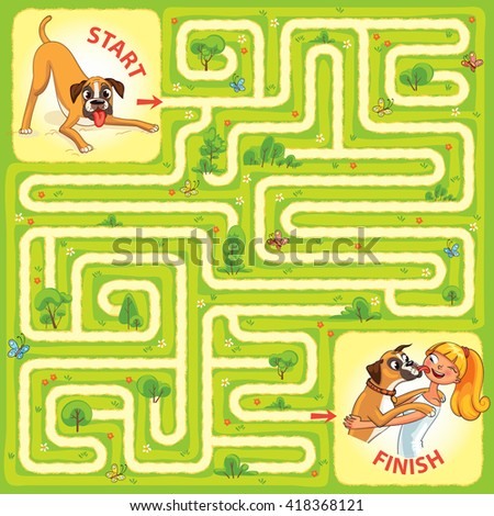 Help the dog to find the right way. Help pet find their owner. Maze Game with Solution. Tangled lines. Funny cartoon character. Vector illustration - stock vector