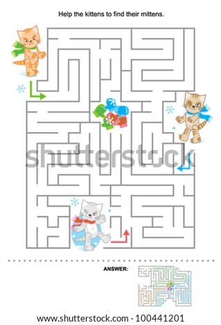 Help the kittens to find their mittens (maze for kids, answer included), for high res JPEG or TIFF see image 100441204 - stock vector