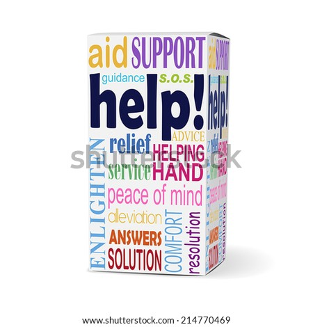help word on product box with related phrases - stock vector