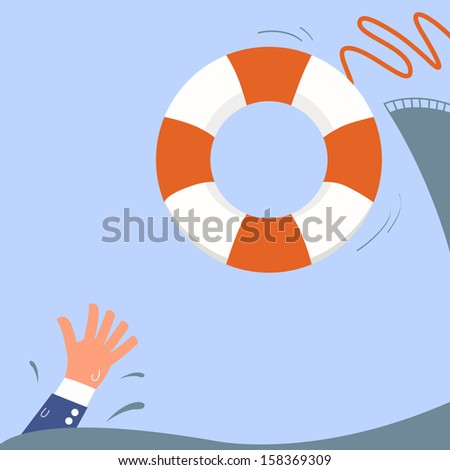 Helping Business survive, representing drowning businessman getting lifebuoy from big ship for help, support, and survival.  - stock vector