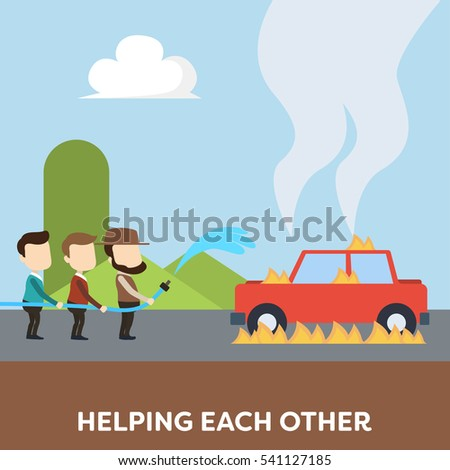 Helping each other illustration concept