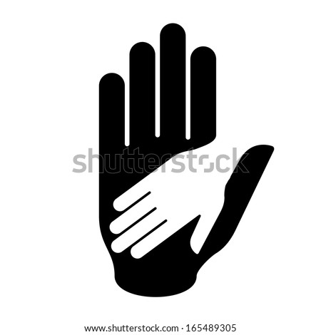 Helping hand in black-and-white colors. Symbol of help, assistance and cooperation. - stock vector