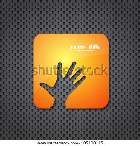 helping hand orange icon - stock vector