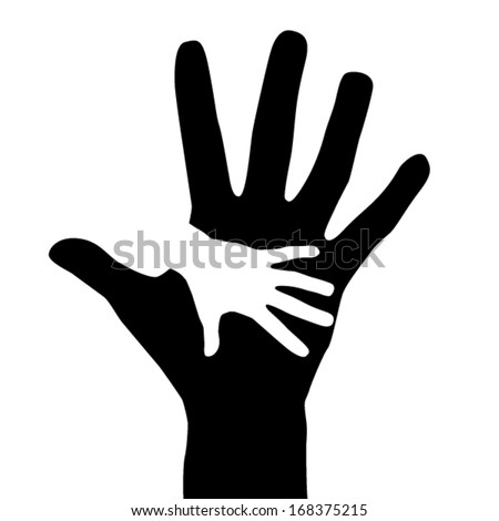 Helping Hands adult and child. Isolated silhouette on a white background. Vector EPS 10 illustration. - stock vector