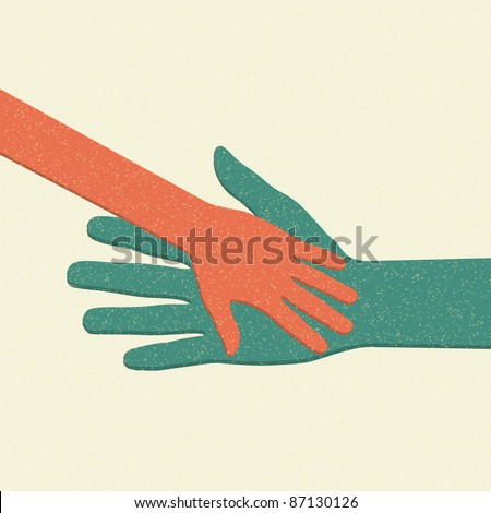 Helping hands. Adult Care about child. Vector illustration. - stock vector