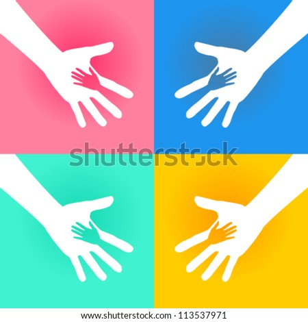 Helping Hands Charity - stock vector
